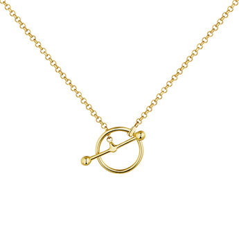 Gold plated silver piercing bar circle necklace, J04329-02, hi-res