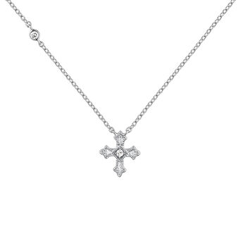 Silver necklace with a small cross with topazes, J04230-01-WT, hi-res