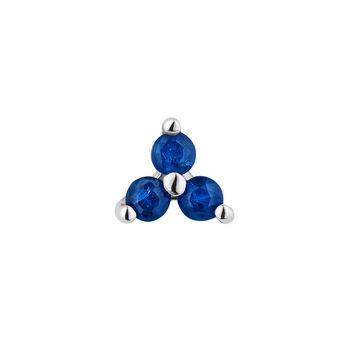 Mini white gold clover sapphire earring, J04347-01-BS-H, hi-res