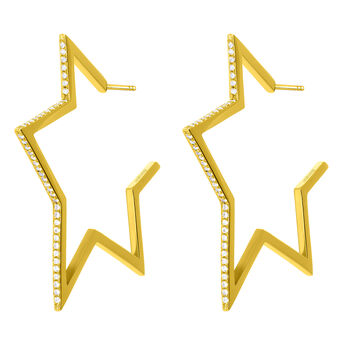 Gold plated big-star earrings with topaz, J03633-02-WT, hi-res