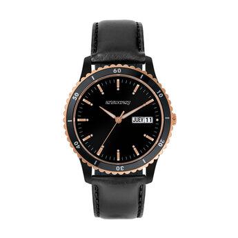 Montre Shibuya bracelet en cuir noir cadran noir, W43A-PKBLBL-LEBL, hi-res