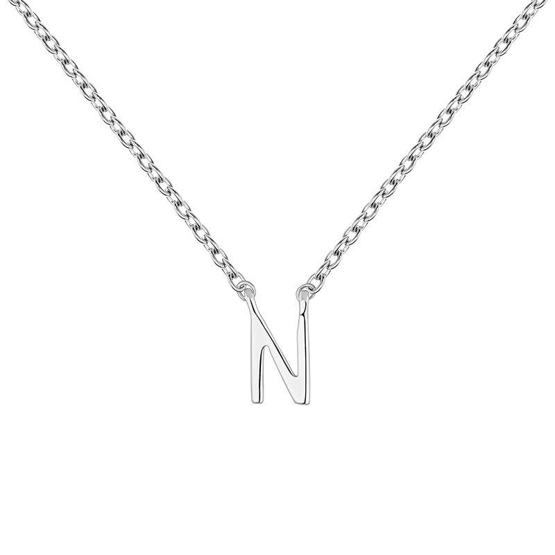 Collar inicial N oro blanco9 kt, J04382-01-N, hi-res
