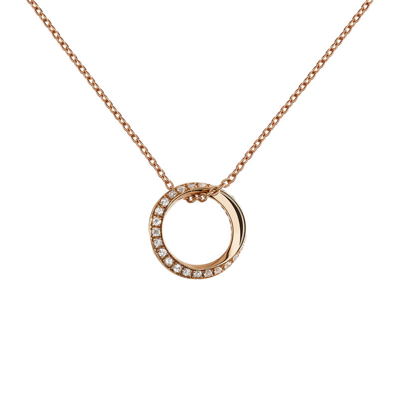 Rose gold plated topaz multi-circle necklace, J03666-03-WT, hi-res