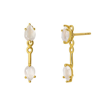 Gold moonstone ear jackets, J03552-02-WMS, hi-res
