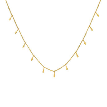 Gold plated drop motifs necklace, J04591-02, hi-res
