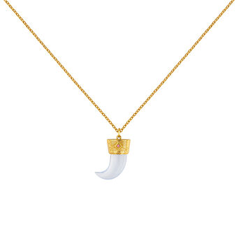 Collar cuerno plata recubierta oro, J04390-02-BCHAL-RO, hi-res