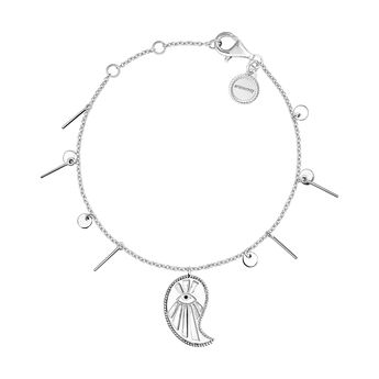 Silver cashmere pendant bracelet with spinels, J04136-01-BSN, hi-res