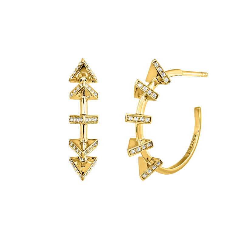 Gold plated triangle hoop earrings, J03962-02-WT, hi-res