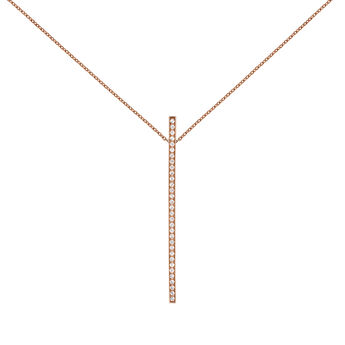 Rose gold plated necklace with pendant and topaz, J04035-03-WT, hi-res
