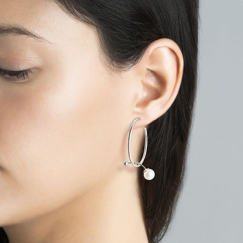 Silver pearl hoop earrings, J04019-01-WP, hi-res