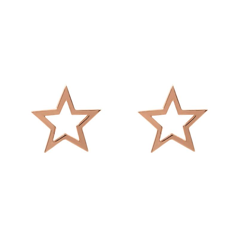 Pendientes estrella hueca plata recubierta oro rosa, J01895-03, hi-res