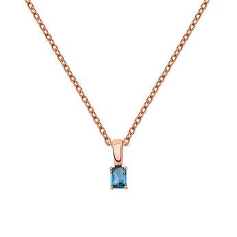 Rose gold necklace with blue topaz, J03280-03-LB, hi-res