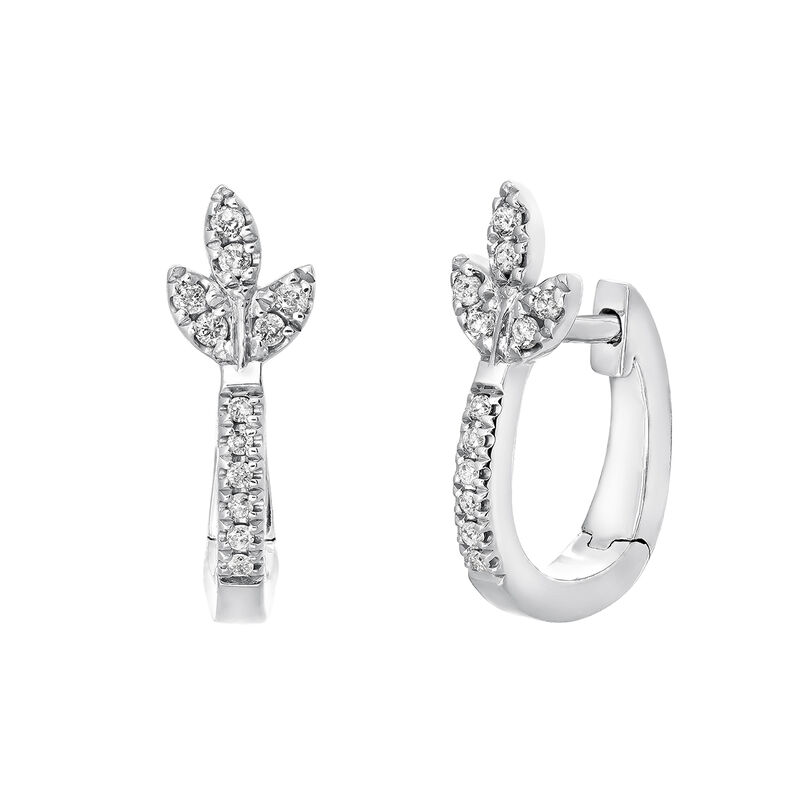 Silver diamond leaf hoop earrings, J03711-01-GD, hi-res