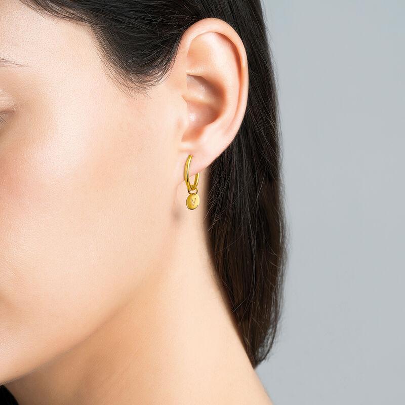 Gold V letter necklace, J03455-02-V, hi-res