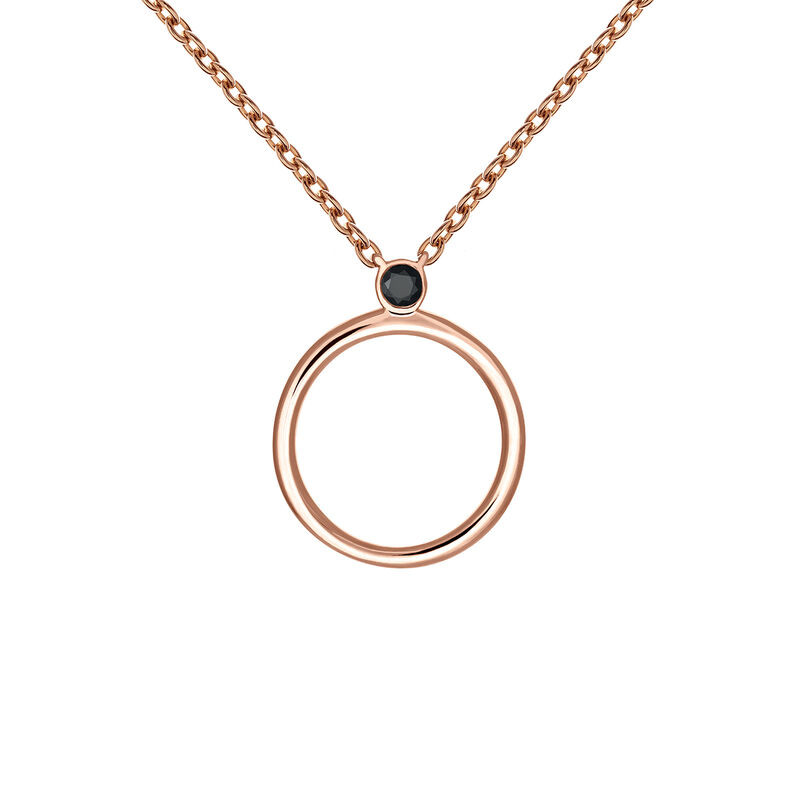 Rose gold plated spinel circle necklace, J03692-03-BSN, hi-res