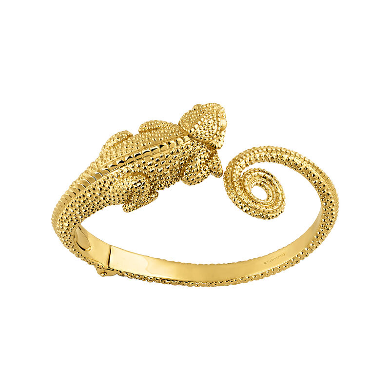 Gold chameleon bangle, J04201-02, hi-res