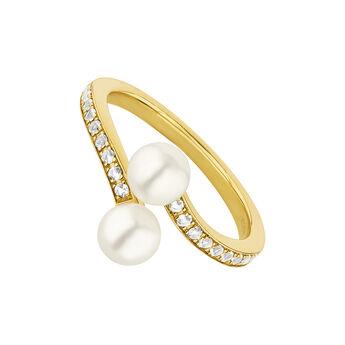 Anillo tú y yo topacios y perla plata recubierta oro, J04746-02-WT-WP, hi-res
