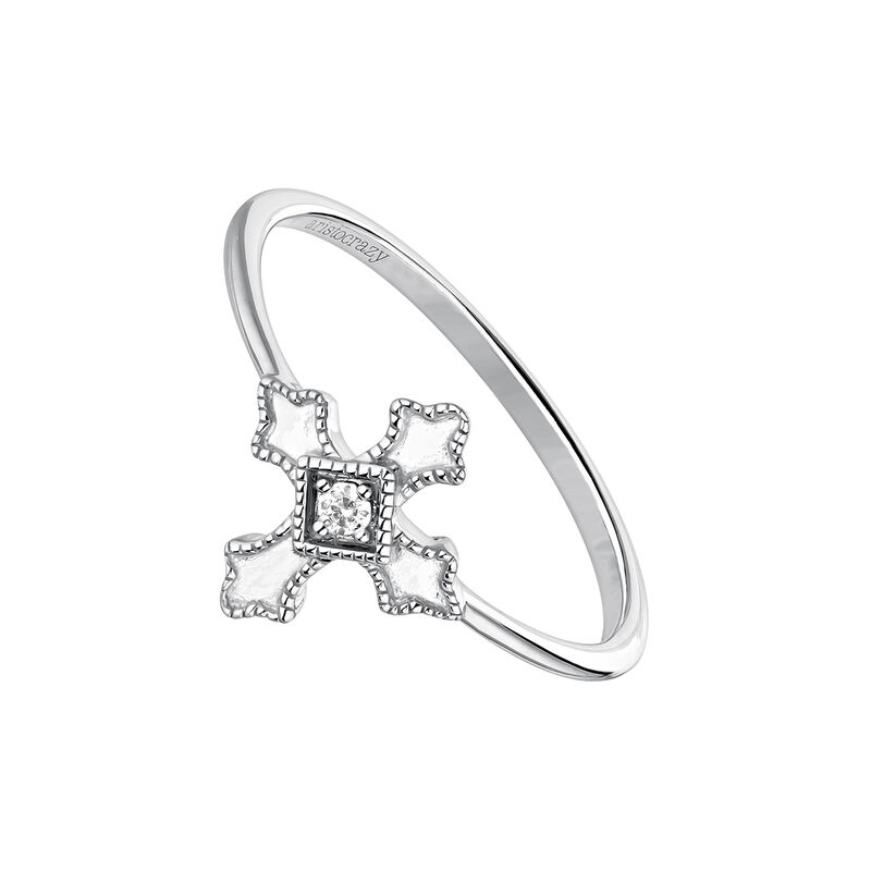 Cross ring with topaz, J04225-01-WT, hi-res
