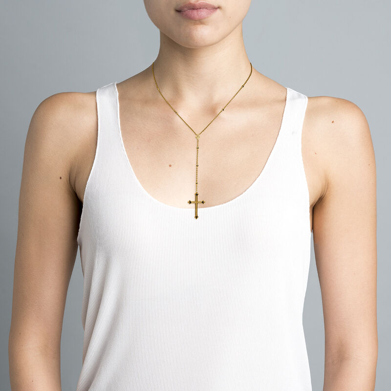 Gold plated large-size cross pendant necklace with spinels, J04236-02-BSN, hi-res