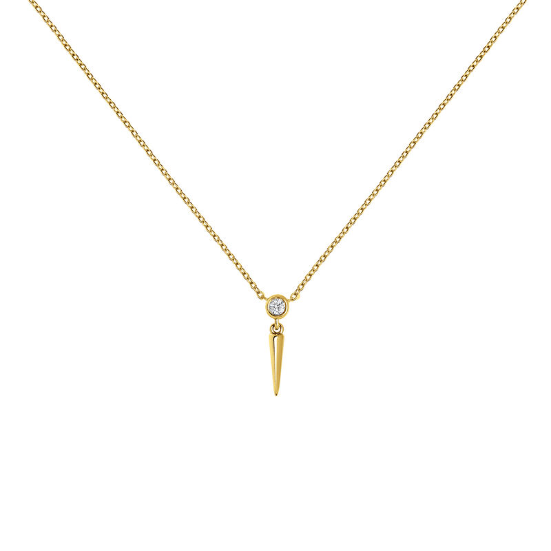 Yellow gold spike diamond necklace 0.021 ct, J03885-02, hi-res