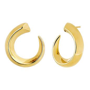 Pendientes aro abiertos decrecientes grandes oro, J04255-02, hi-res
