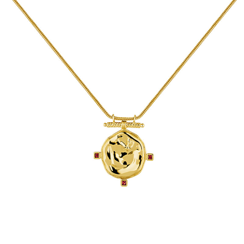 Gold plated medal necklace garnet, J04267-02-GAR, hi-res