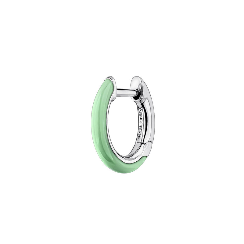 Silver green enamel earring, J04129-01-GRENA-H, hi-res