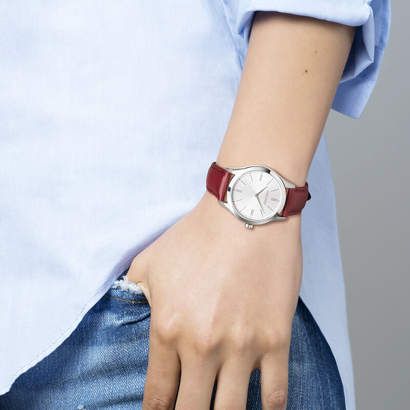 Mitte watch red strap white face, W41A-STSTGR-LERD, hi-res