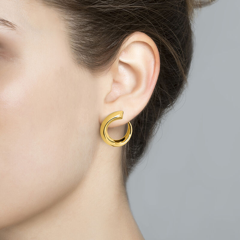Small gold plated tapered open hoop earrings, J04254-02, hi-res