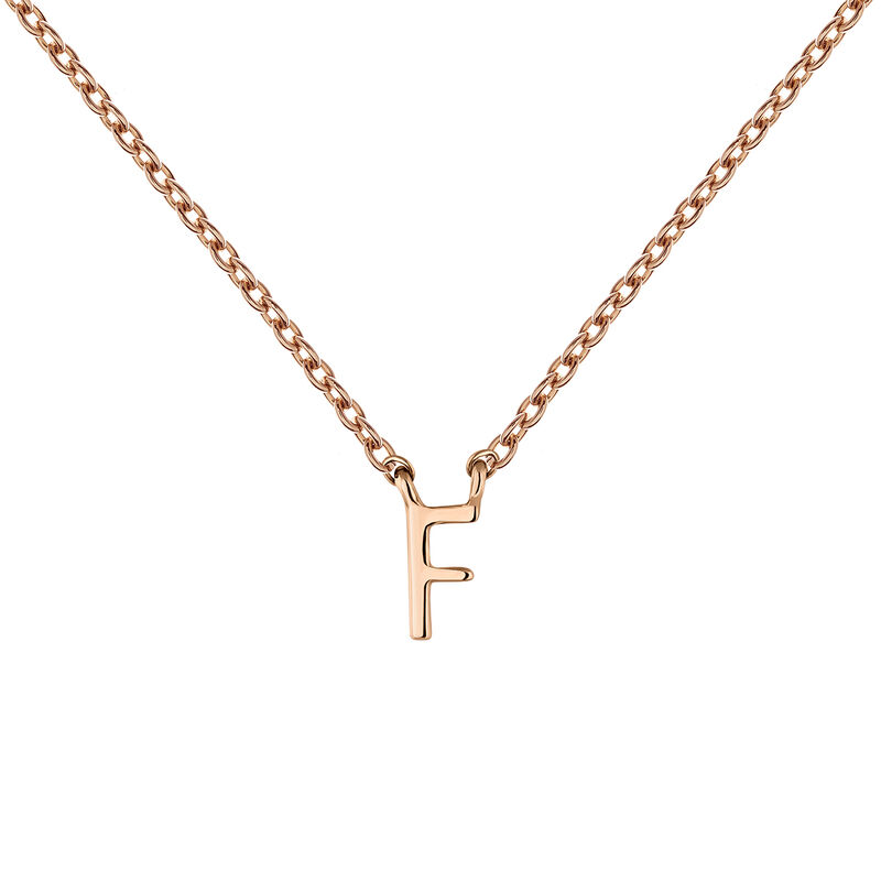 Collier initiale F or rose, J04382-03-F, hi-res