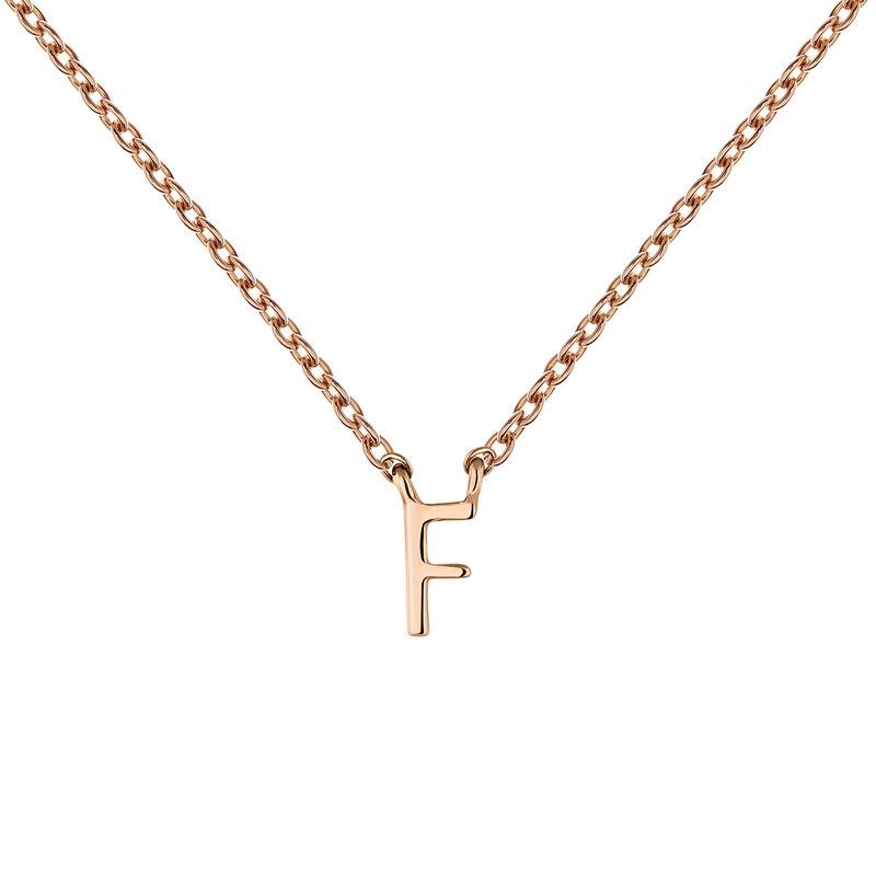 Rose gold Initial F necklace, J04382-03-F, hi-res
