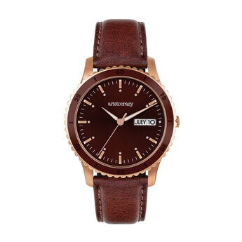 Montre Shibuya bracelet en cuir cadran marron, W43A-PKBRBR-LEBR, hi-res