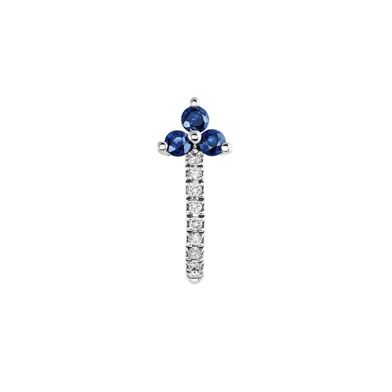 Boucle d'oreille créole trèfle saphir et diamant or blanc, J04071-01-BS-H, hi-res
