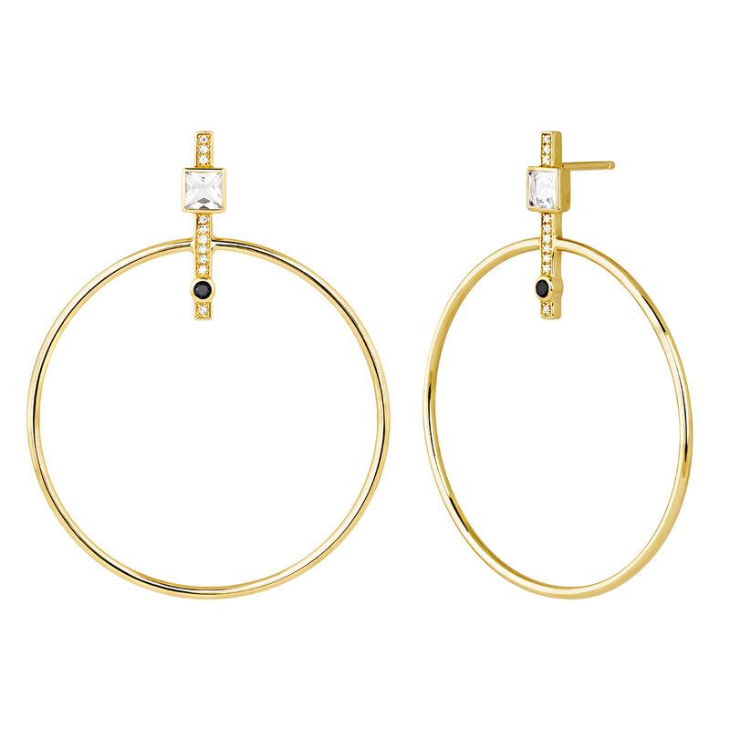 Hoop earrings spinel and topaz gold, J04092-02-WT-BSN, hi-res