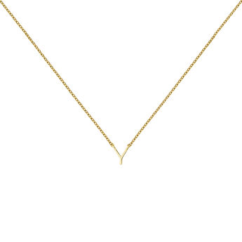 Gold Initial Y necklace, J04382-02-Y, hi-res