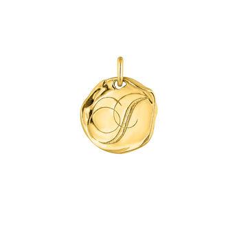 Gold plated Initial I medal pendant, J04641-02-I, hi-res