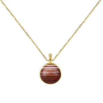 Large gold plated red agate necklace , J04127-02-BAAG-WT, hi-res