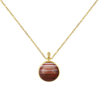 Collier grand agate rouge argent plaqué or, J04127-02-BAAG-WT, hi-res