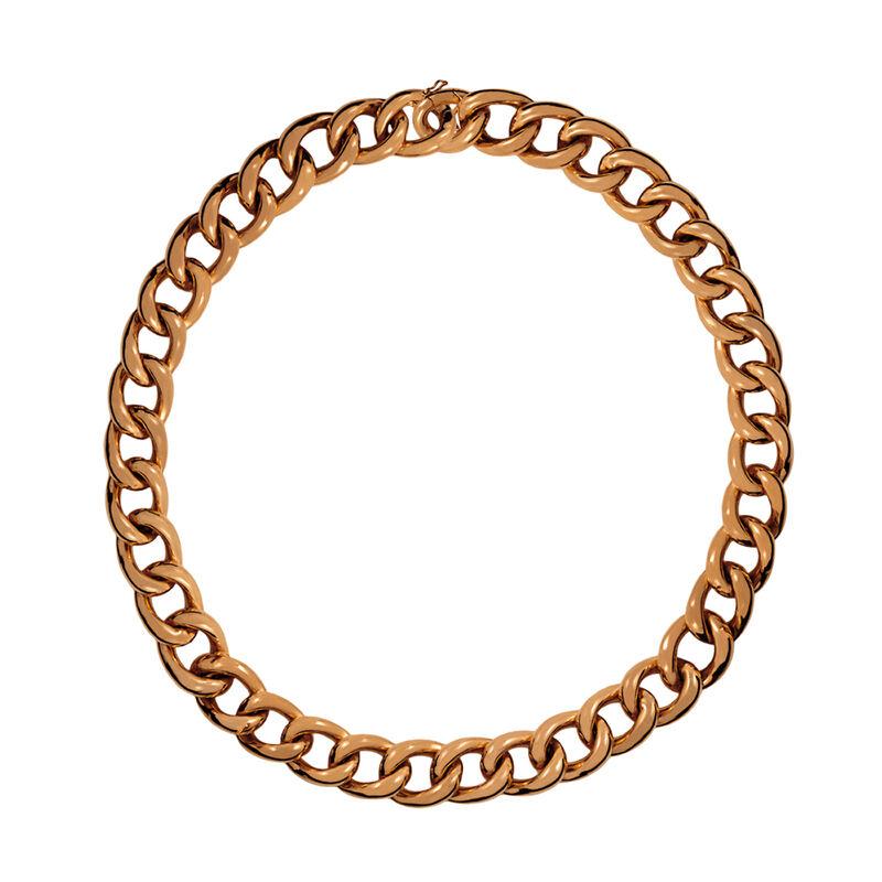 Collar barbado corto plata recubierta oro rosa, J00907-03-45, hi-res