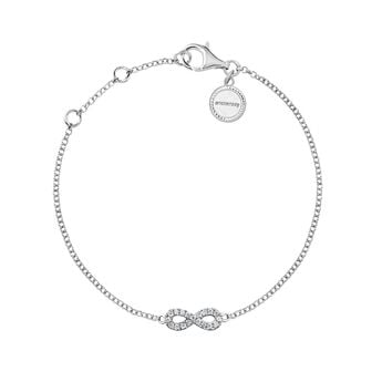 Bracelet infini or blanc diamants 0,05 ct, J03022-01, hi-res