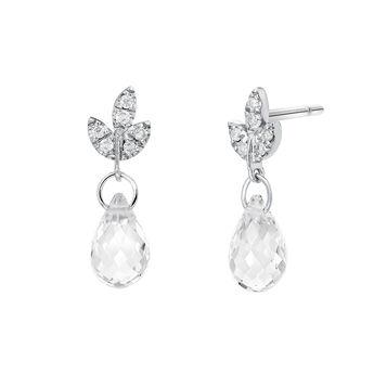 Pendientes colgantes hoja topacio y diamantes plata, J03715-01-WT-GD, hi-res