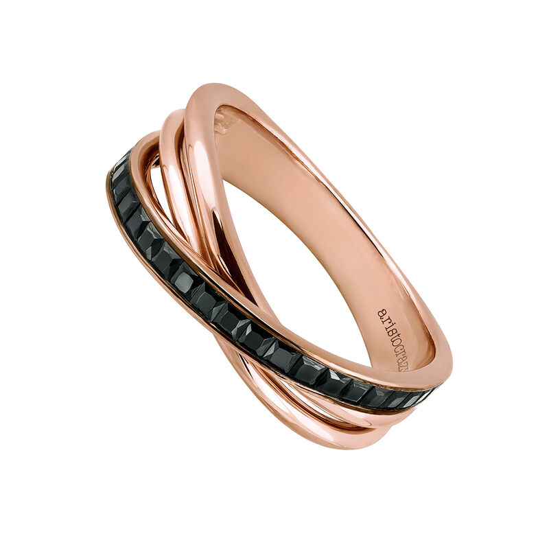 Small rose gold plated multi-band ring, J03660-03-BSN, hi-res
