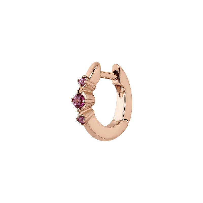 Boucle d'oreille créole rhodolite argent plaqué or rose, J04652-03-RO-H, hi-res