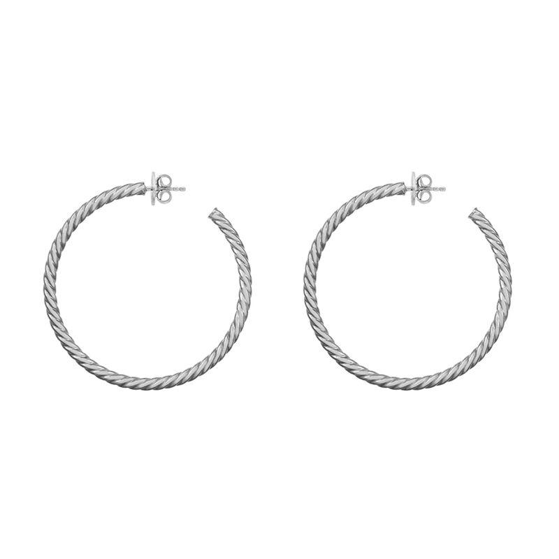 Silver cabled maxi hoop earrings, J01592-01, hi-res
