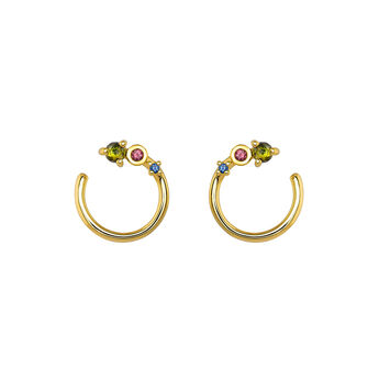 Hoop earrings curve small with stones gold, J04154-02-GTPTBS, hi-res
