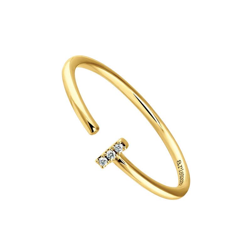 Anillo tú y yo pequeño diamantes oro amarillo 0,015 ct, J03880-02, hi-res