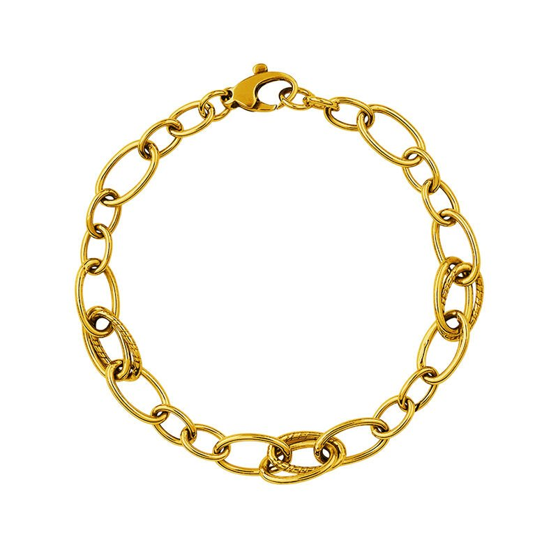 Pulsera mix eslabón oval doble oro, J01371-02, hi-res