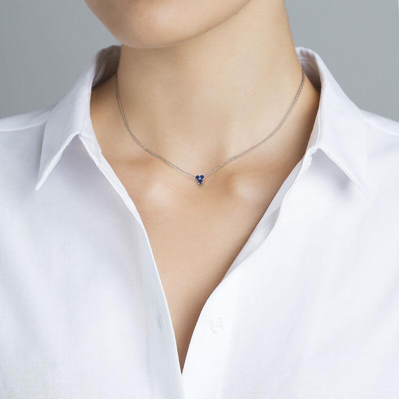 Silver shamrock necklace sapphires, J01967-01-BS, hi-res