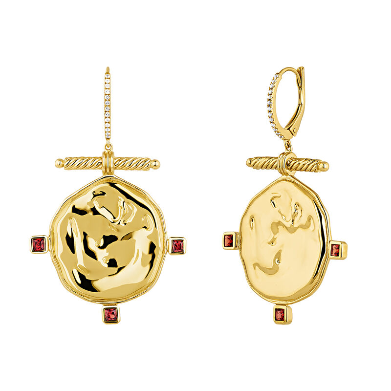 Gold plated creole medal topaz garnet earrings