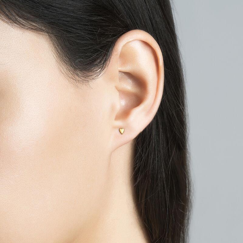 Gold heart earring piercing, J03835-02-H, hi-res